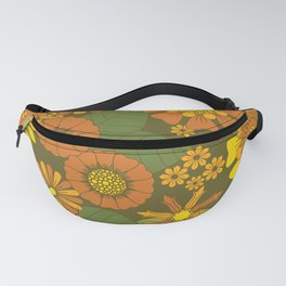 Orange, Brown, Yellow and Green Retro Daisy Pattern Fanny Pack