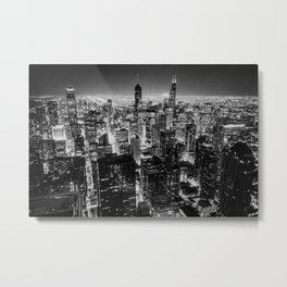 Chicago Skyline at Night Metal Print