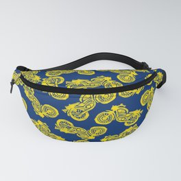Motorcycles Linocut Yellow Gold Navy Blue Fanny Pack
