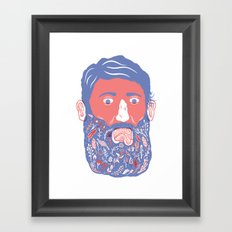 Flowers in Beard Framed Art Print