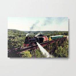 A steam train crosses the 156-foot-tall Bass Point Creek Bridge Metal Print