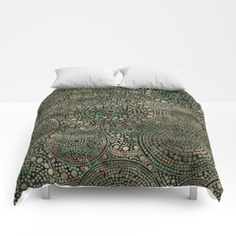 Dot Art Circles Malachite and Gold Comforters