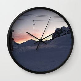 New day about to start at mountains Wall Clock
