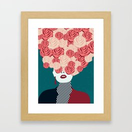 Women with roses Framed Art Print