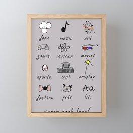 geek love! grey Framed Mini Art Print