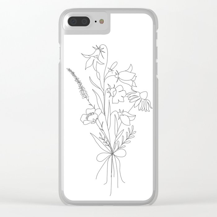 Small Wildflowers Minimalist Line Art Clear iPhone Case