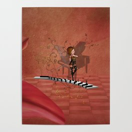 Cute fairy dancing on a piano Poster