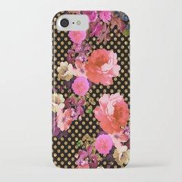 Elegant Pink Vintage Flowers Black Gold Polka Dots iPhone Case