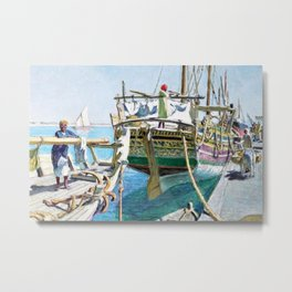 Arrival of the Boat, Tunisia, North Africa Portrait by Raoul du Gardier Metal Print