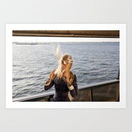 The Ferry, Windy Art Print