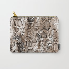 Tan Snakeskin  Carry-All Pouch