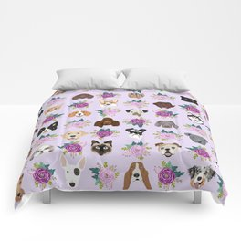 Dogs and cats pet friendly floral animal lover gifts dog breeds cat person Comforters
