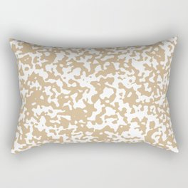 Small Spots - White and Tan Brown Rectangular Pillow