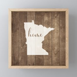 Minnesota is Home - White on Wood Framed Mini Art Print