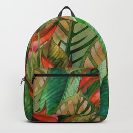 Painted Jungle Leaves 2 Backpack