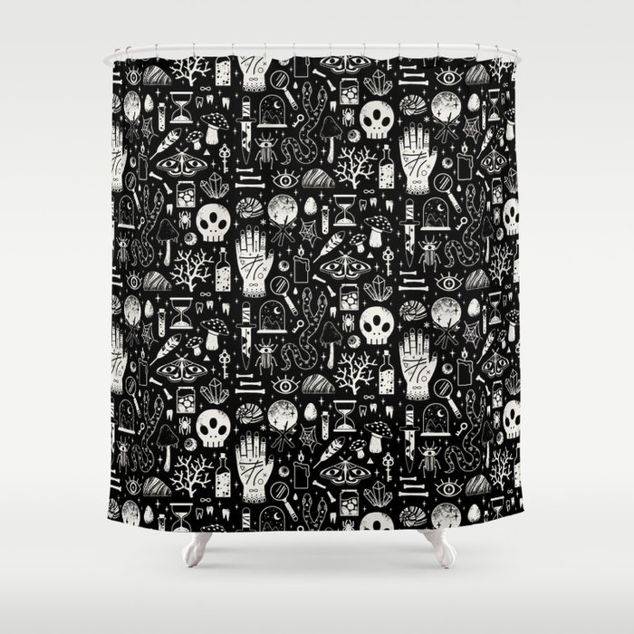 Curiosities: Bone Black Shower Curtain