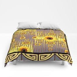 MODERN  ART DECO GOLDEN SUNFLOWERS  GREY-BLACK Comforters