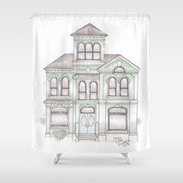 Green Italianate Victorian Shower Curtain