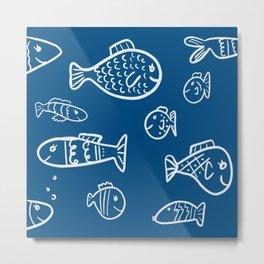 Blue Fish / pool of fish / illustrative fish in blue water / cute ocean life / nautical fish blue Metal Print