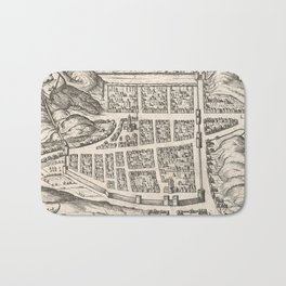 Vintage Map of Edinburgh Scotland (1581) Bath Mat