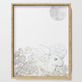 rabbit flower and moon Serving Tray