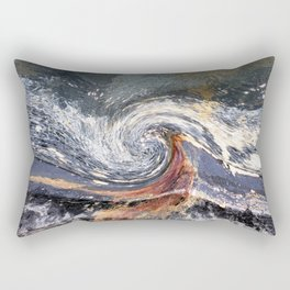 The Wave Etched in Stone Rectangular Pillow