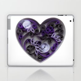 Purple Grey Love Heart Paper Quilled Colorful Heart Wedding Anniversary Gift Laptop & iPad Skin