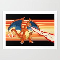 Fire Pocket Monster #006 Art Print