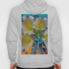 EASTER LILIES FLOWER  BLUE-GOLD FLORAL Hoody