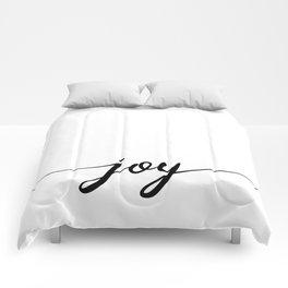 joy calligraphy line Comforters