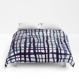 Watercolor doodle gingham - indigo Comforters