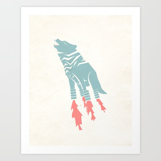 Robot Wolf-Tiger from Outer Space Art Print