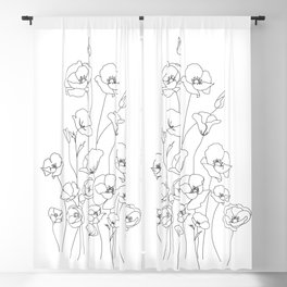 Poppy Flowers Line Art Blackout Curtain