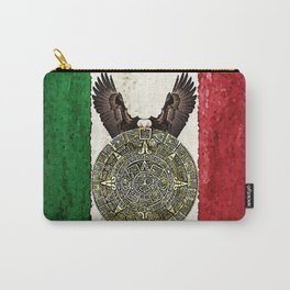 MEXICAN EAGLE AZTEC CALENDAR FLAG Carry-All Pouch
