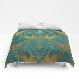 """Turquoise and Gold Paradise Birds"" Comforters"