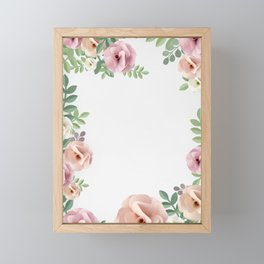 Pink Floral Art Border Painting Framed Mini Art Print