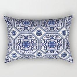 Portuguese Tiles Azulejos Blue and White Pattern Rectangular Pillow