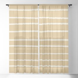 Dover White 33-6 Hand Drawn Horizontal Lines on Maple Sugar Beige 9-23 Sheer Curtain