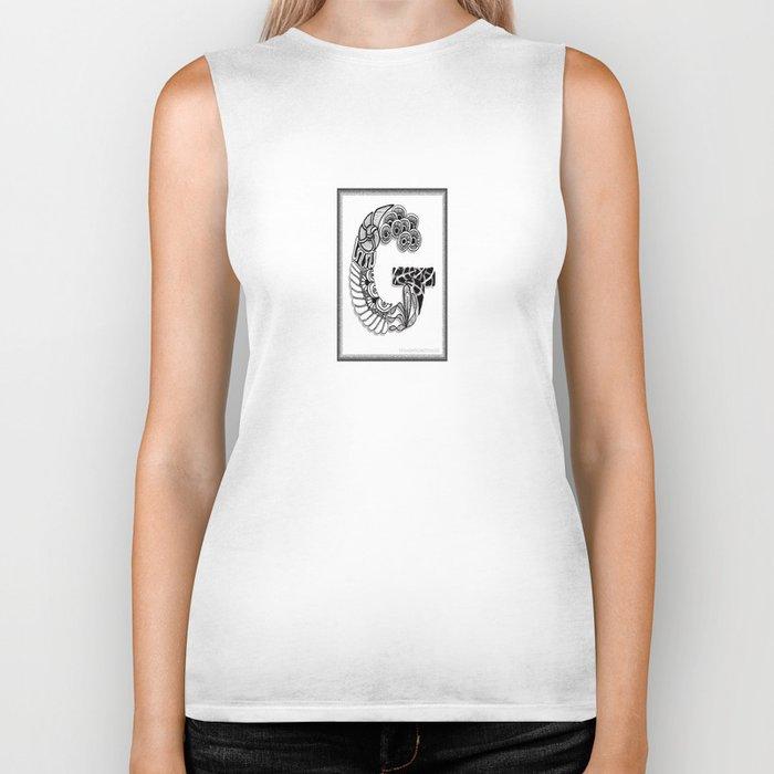 Zentangle G Monogram Alphabet Initials Biker Tank