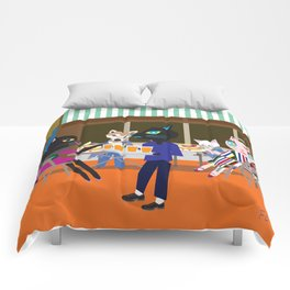 Brooklyn cafe Fashionista cats Comforters