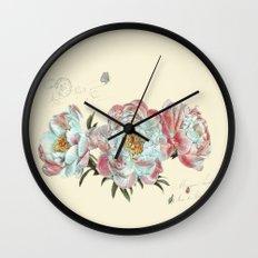 vintage peonies Wall Clock