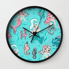 Babydoll Mermaids on Aqua Wall Clock