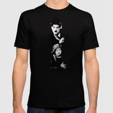 Chaplin and the kid - Urban ART Mens Fitted Tee SMALL Black