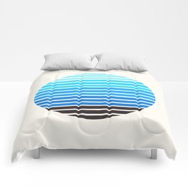 Cerulean Blue Mid Century Modern Abstract Minimalist Circle Sunset Stripes Ombre Watercolor Geometri Comforters