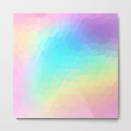 Pastel Rainbow Gradient With Stained Glass Effect Metal Print