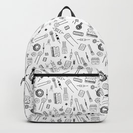 Circuit Components - Black on White Backpack