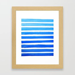 Blue Watercolor Stripes Framed Art Print