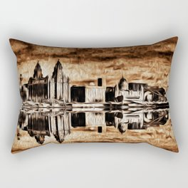 Liverpool Water front Skyline (Digital Art) Rectangular Pillow