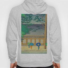 Asano Takeji Rain At Sanjusangendo Temple Vintage Japanese Woodblock Print East Asian Culture Hoody