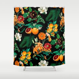 Fruit and Floral Pattern Shower Curtain